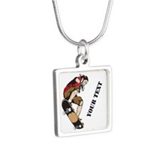 Personalized Skateboarder Silver Square Necklace