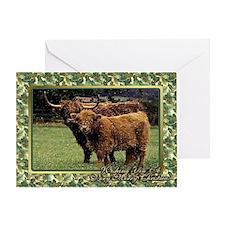 Highland Cow And Calf Christmas Card Greeting Card