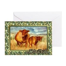 Red Angus Cow And Calf Christmas Card Greeting Car