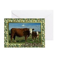 Hereford Cow And Calf Christmas Card Greeting Card