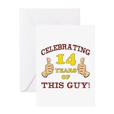 Funny 14th Birthday For Boys Greeting Card