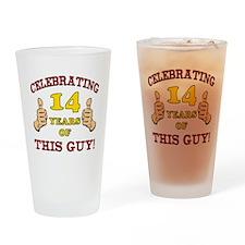 Funny 14th Birthday For Boys Drinking Glass