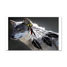 3 Feathers Wolf Rectangle Car Magnet