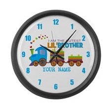 Cutest Lil Brother Train Large Wall Clock