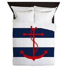 Red Anchor on Blue Stripes Queen Duvet