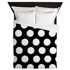 Black and white polka dot Queen Duvet