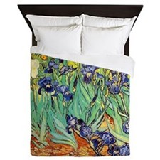 Van Gogh Irises purple floral Queen Duvet