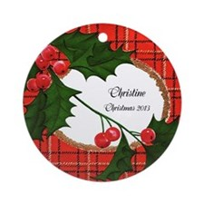 Vintage Holly with Plaid Personalized Ornament