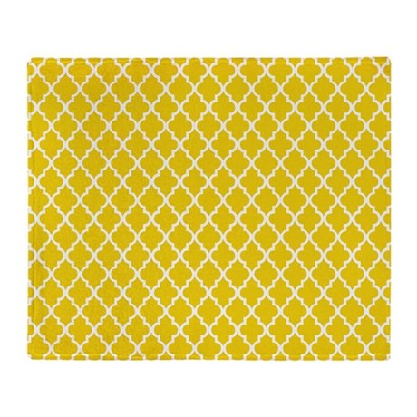 Yellow Quatrefoil Pattern Throw Blanket By Mcornwallshop