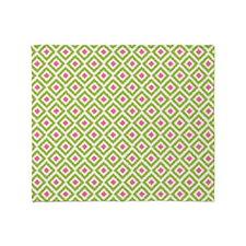 Green Pink Diamonds Ikat Throw Blanket