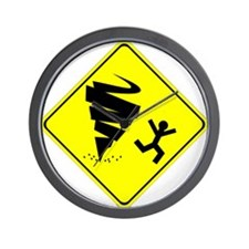 Tornado Caution Sign Wall Clock