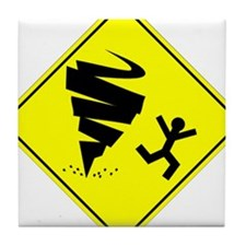 Tornado Caution Sign Tile Coaster