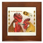Sicilian Buttercup Chickens Framed Tile