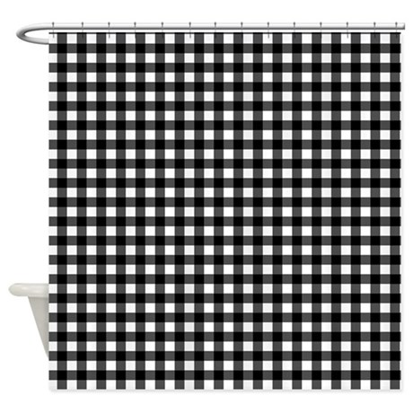 Black White Checkered Plaid Shower Curtain By Digipixelshop