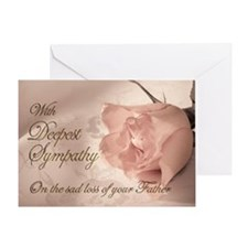Father, Pink rose sympathy card Greeting Card