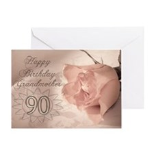 90th Birthday for grandmother, pink rose Greeting