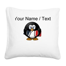 Custom Book Worm Penguin Square Canvas Pillow