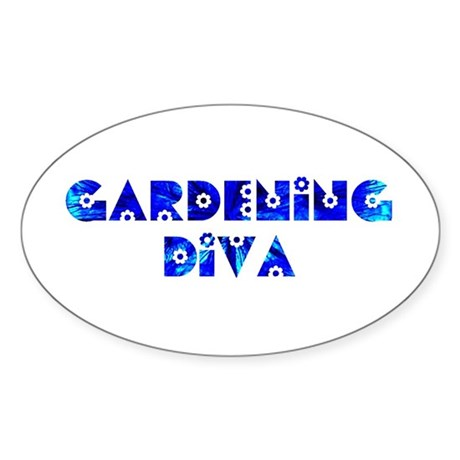Gardening Diva Oval Sticker