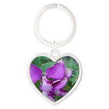 Purple Flower Heart Keychain