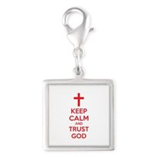 Keep calm and trust god Silver Square Charm