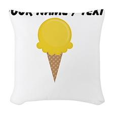 Custom Yellow Waffle Cone Woven Throw Pillow