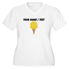 Custom Yellow Waffle Cone Plus Size T-Shirt