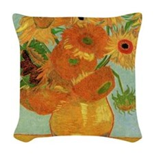 Vase with 12 Sunflowers by Vin Woven Throw Pillow