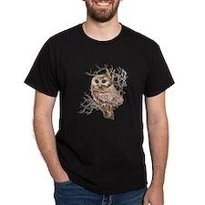 Cute Baby Saw Whet Owl Watercolor Bird T-Shirt