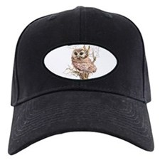 Cute Baby Saw Whet Owl Watercolor Bird Baseball Ha