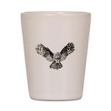 Striking Hunting Watercolor Owl Logo Shot Glass
