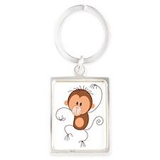 Stickfigure Monkey Portrait Keychain