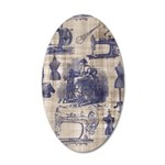 Vintage Sewing Toile 20x12 Oval Wall Decal
