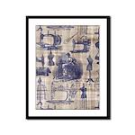 Vintage Sewing Toile Framed Panel Print