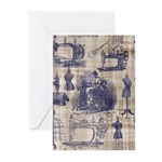 Vintage Sewing Toile Greeting Cards (Pk of 10)