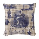 Vintage Sewing Toile Woven Throw Pillow