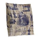 Vintage Sewing Toile Burlap Throw Pillow