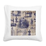 Vintage Sewing Toile Square Canvas Pillow