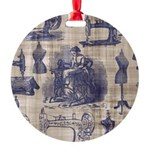 Vintage Sewing Toile Round Ornament
