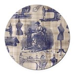Vintage Sewing Toile Round Car Magnet