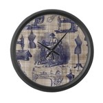 Vintage Sewing Toile Large Wall Clock