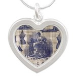 Vintage Sewing Toile Silver Heart Necklace