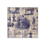 Vintage Sewing Toile Square Sticker 3