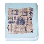 Vintage Sewing Toile baby blanket