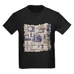 Vintage Sewing Toile Kids Dark T-Shirt