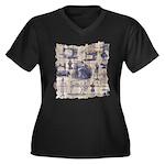 Vintage Sewing Toile Women's Plus Size V-Neck Dark