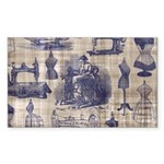 Vintage Sewing Toile Sticker (Rectangle 10 pk)