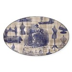 Vintage Sewing Toile Sticker (Oval 10 pk)