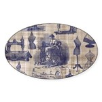 Vintage Sewing Toile Sticker (Oval)