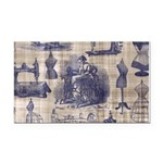 Vintage Sewing Toile Rectangle Car Magnet