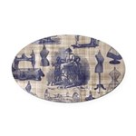 Vintage Sewing Toile Oval Car Magnet